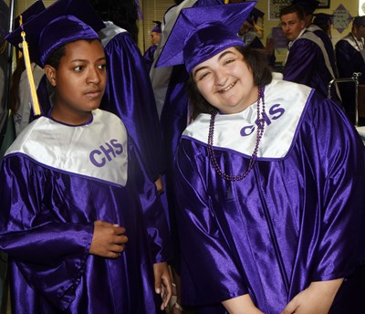CHS seniors Chris Moran, at left, and Brooke Tucker prepare to graduate.