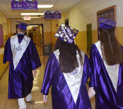 CHS seniors walk to line up for the graduation ceremony.