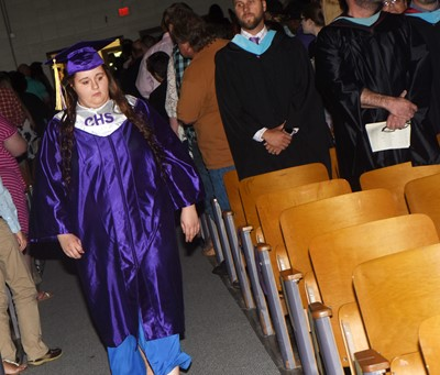 CHS senior Amanda Dotson walks in as graduation gets underway.