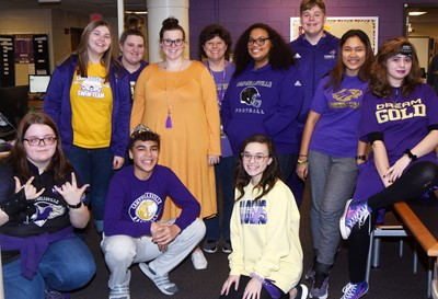 CHS students dress in purple and gold for All Gold Everything Day.