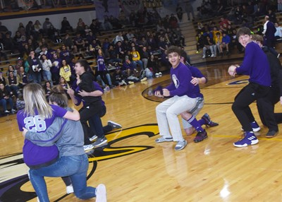 CHS students play the furniture game for the day's spirit game.