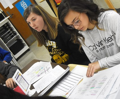 CHS freshman Mikaela Scharbrough, at left, and sophomore Tayler Thompson discuss the poem Half-Hanged Mary with their classmates.