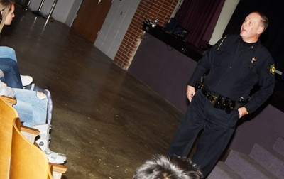 Campbellsville Police Chief Mitch Bailey talks to CHS juniors about how poor decisions can change many lives.