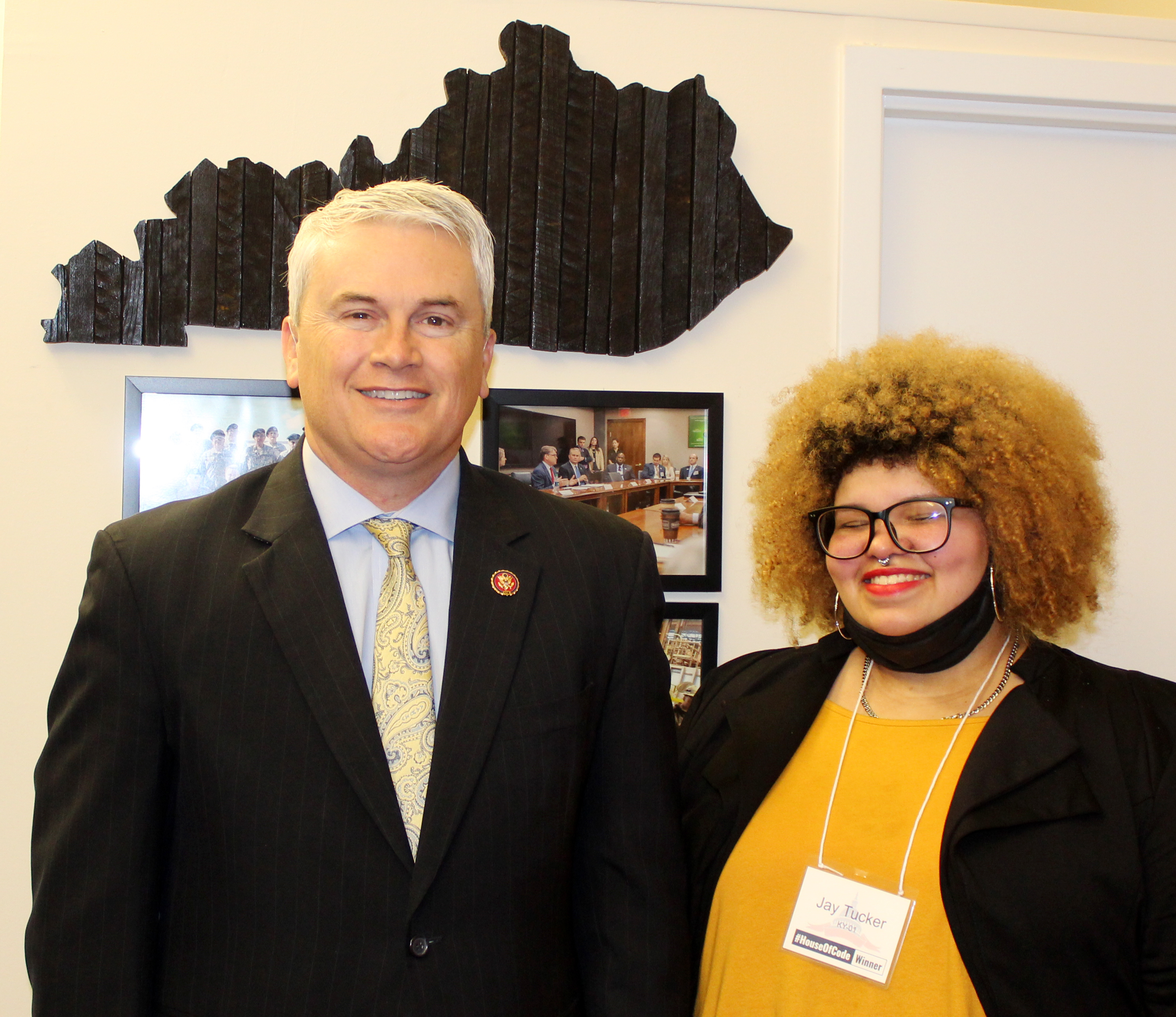 Campbellsville High School senior Jay Tucker was recently honored in Washington, D.C., for winning the First District Congressional App Challenge. She is pictured with U.S. Rep. James Comer, R-Ky., who sponsors the challenge.
