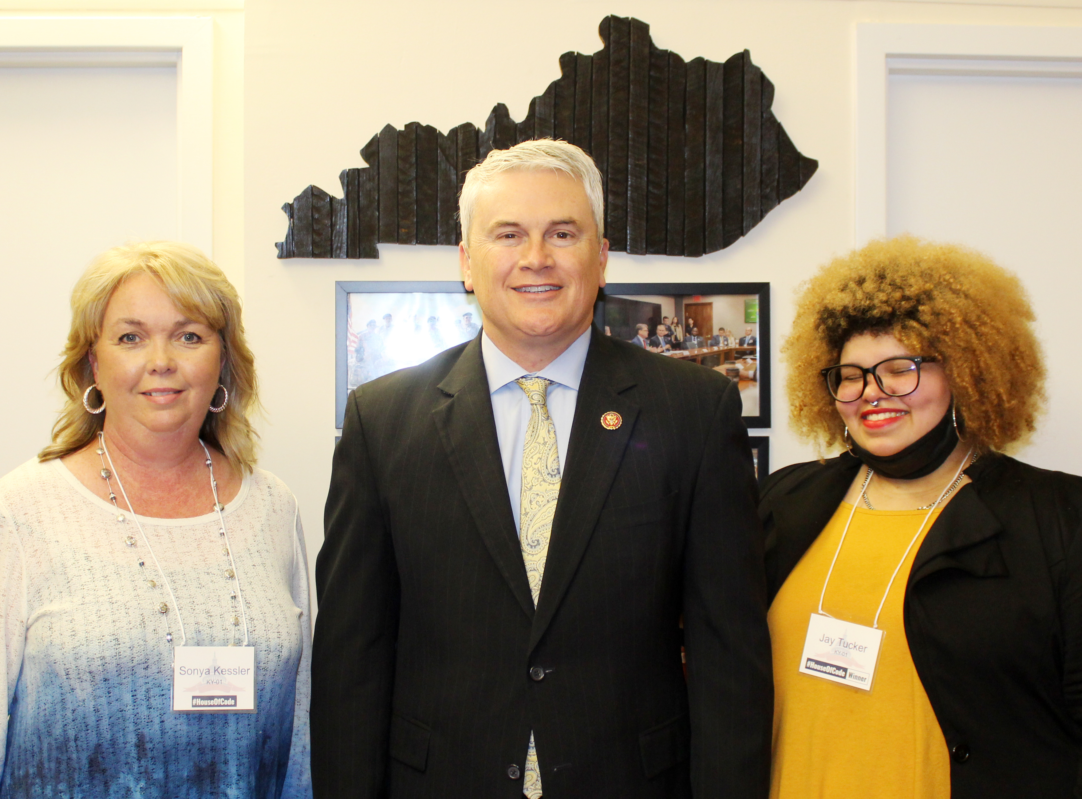 Campbellsville High School senior Jay Tucker was recently honored in Washington, D.C., for winning the First District Congressional App Challenge. She is pictured with U.S. Rep. James Comer, R-Ky., who sponsors the challenge, and CHS computer science teacher Sonya Kessler, at left.