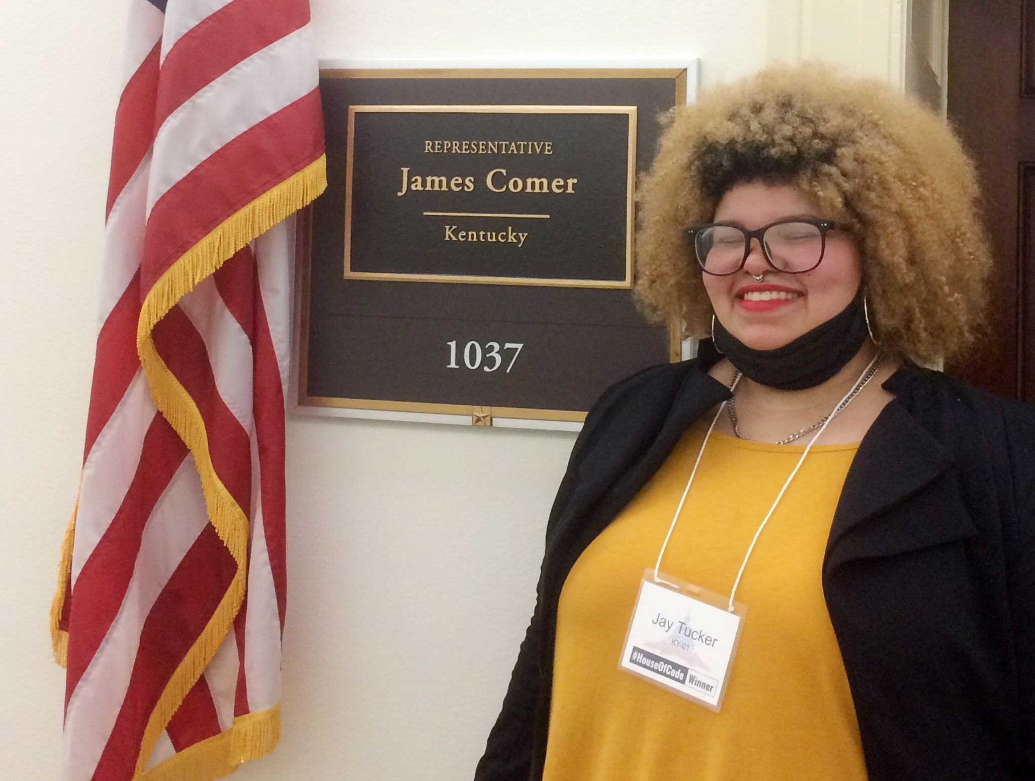 Campbellsville High School senior Jay Tucker was recently honored in Washington, D.C., for winning the First District Congressional App Challenge, sponsored by U.S. Rep. James Comer, R-Ky. She met with Comer and took a tour of his office.