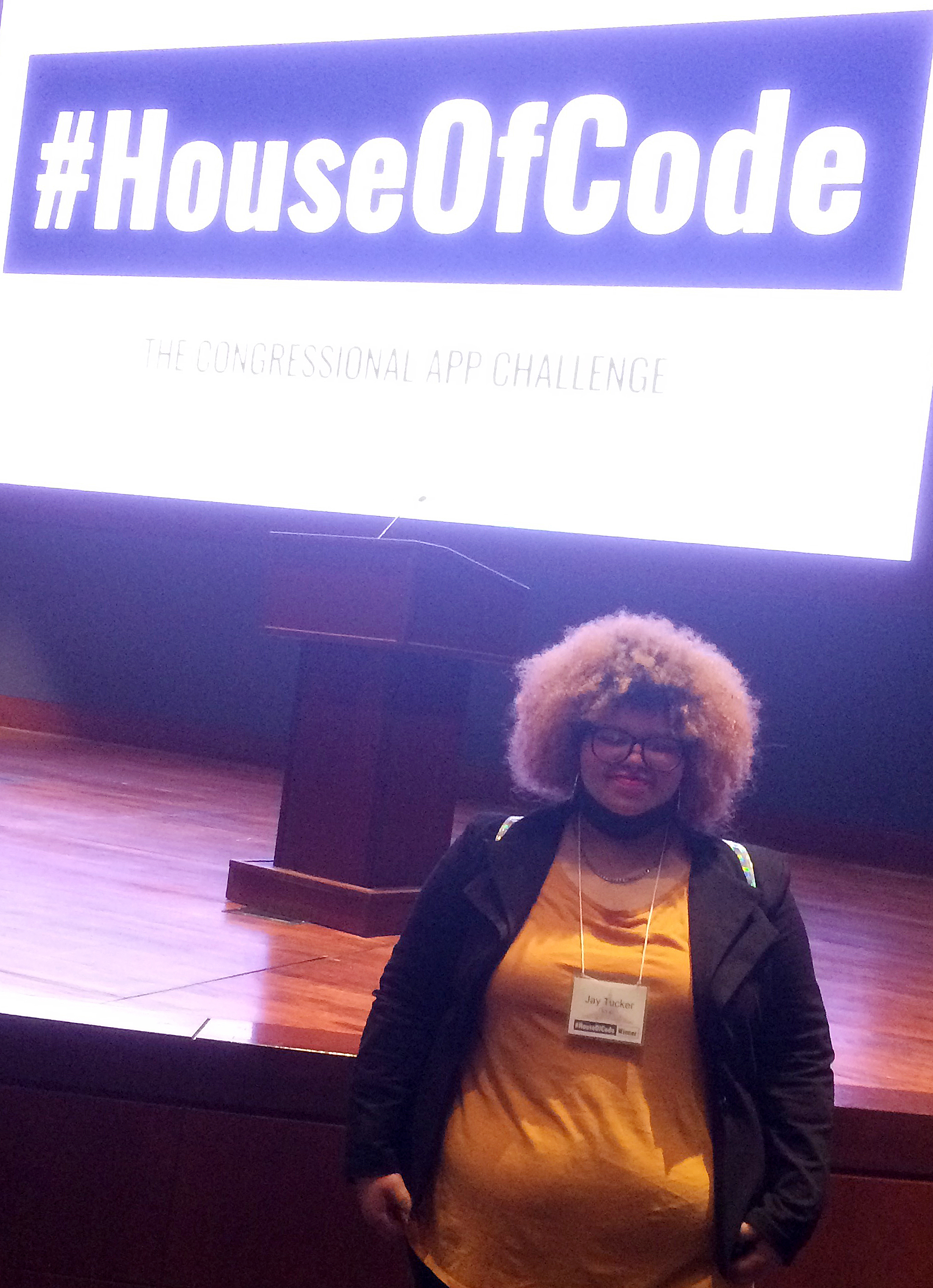 Campbellsville High School senior Jay Tucker was recently honored in Washington, D.C., for winning the First District Congressional App Challenge. She attended #HouseofCode, a celebration for all winners.