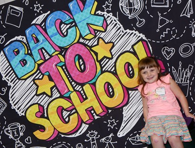 CES kindergartener Karlie Pepper smiles on the first day of school.