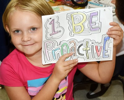 CES second-grader Ayrabella Shietze learns about the Seven Habits on the first day of school.