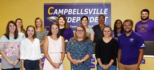 Campbellsville Independent Schools recently added 17 employees to the Eagle family. From left, front, are Jessica Dillon, a first-grade teacher at CES; Emily Andrew, a second-grade teacher at CES; Emilie Murrey, a family and consumer sciences teacher at CHS; Tana Phillips, a second-grade teacher at CES; and Breanna Spaulding and Malique Spaulding, instructional assistants at CES. Back, Shannon Richardson, preschool teacher at CES; Katie Miller, a first-grade teacher at CES; Morgan Dalton, an English teacher at CHS; Adria Rucker, bookkeeper at CHS; Joseph Knifley, bus driver; Joshalyn Gholston, an assistant at the Youth Services Center at Campbellsville middle and high schools; and Brandon Williams, a custodial worker who will begin working next month. Absent from the photo are Kevin Johnson, an exceptional child educator at CES; Jessica Robertson, a fifth-grade teacher at CES; Suzanna Streeval, a preschool teacher at CES; Cameron Johnson, a music teacher and band director at CHS; and Andrea Lawler, an English teacher at CHS.