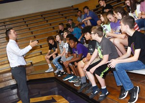 CHS Principal Weston Jones talks to freshmen students about their first days of school.
