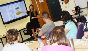 Jordan Jessie, the CIS psychologist, leads a session about RTI paperwork and District procedures.