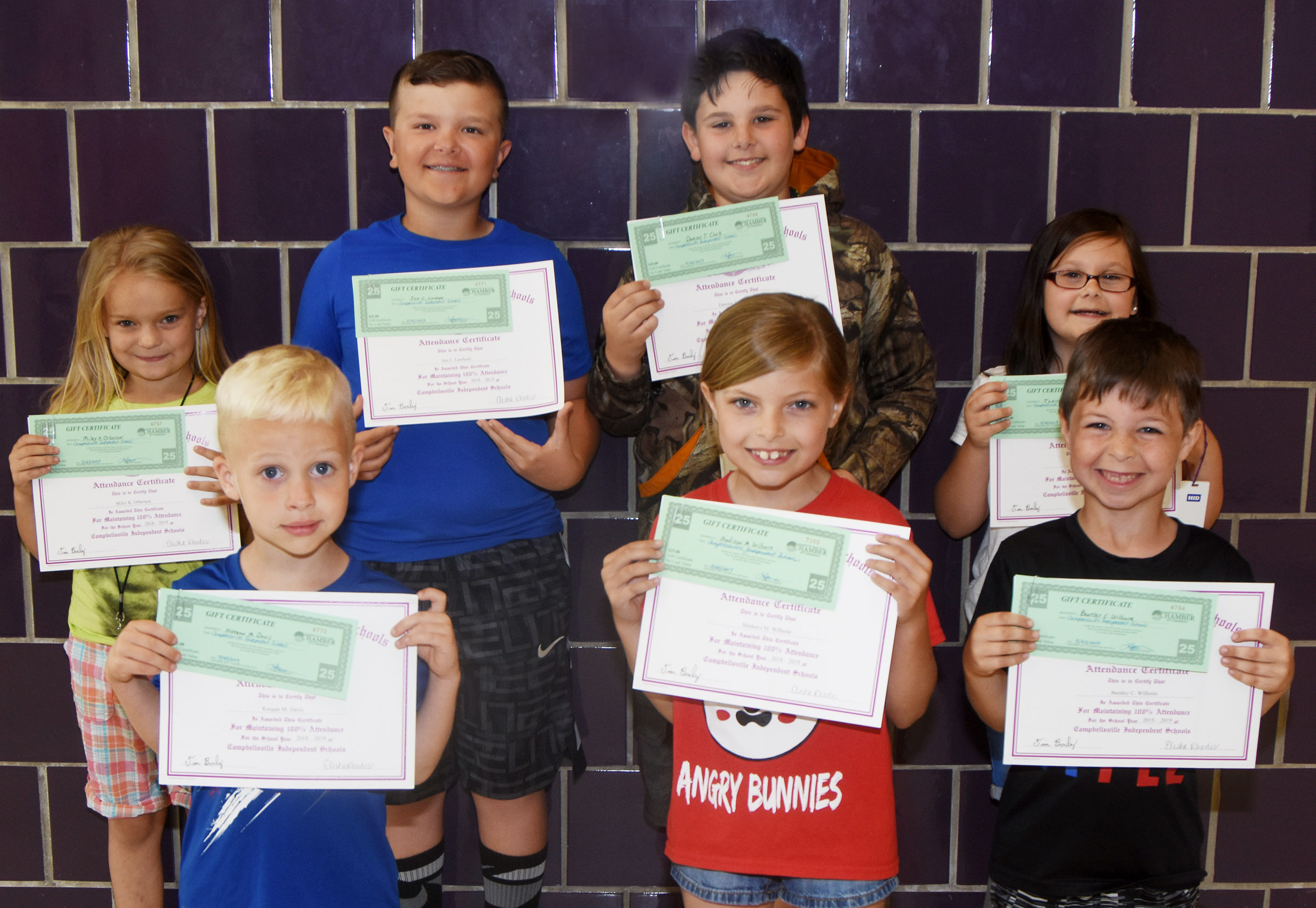 Campbellsville Elementary School students honored for having perfect attendance in the 2018-2019 school year are, from left, front, kindergartener Keegan Davis, second-grader Madison Wilhoite and first-grader Bentley Wilhoite. Back, second-grader Miley Orberson, fourth-graders Cayton Lawhorn and Damien Clark and second-grader Trinity Clark.