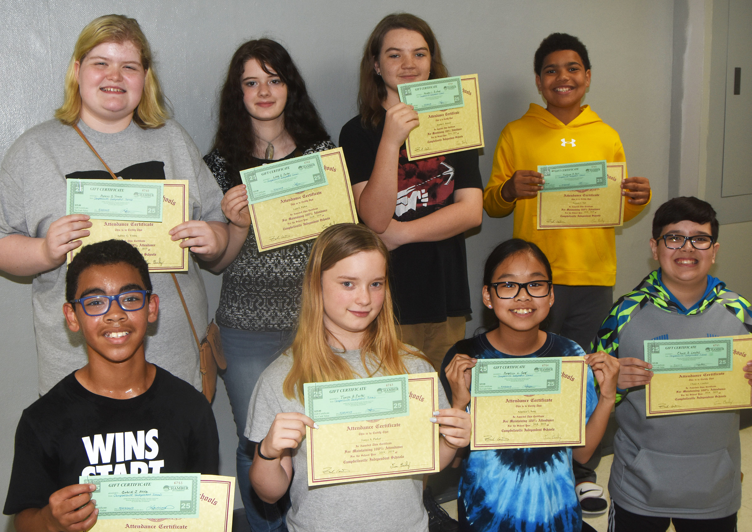 Campbellsville Middle School students honored for having perfect attendance in the 2018-2019 school year are, from left, front, sixth-graders Gabriel Noyola and Kyra Parker and seventh-graders Angelica Seng and Chase Lawless. Back, eighth-graders Aubrey Young and Leah Parker and seventh-graders Kayden Birdwell and Tashaun Hart.