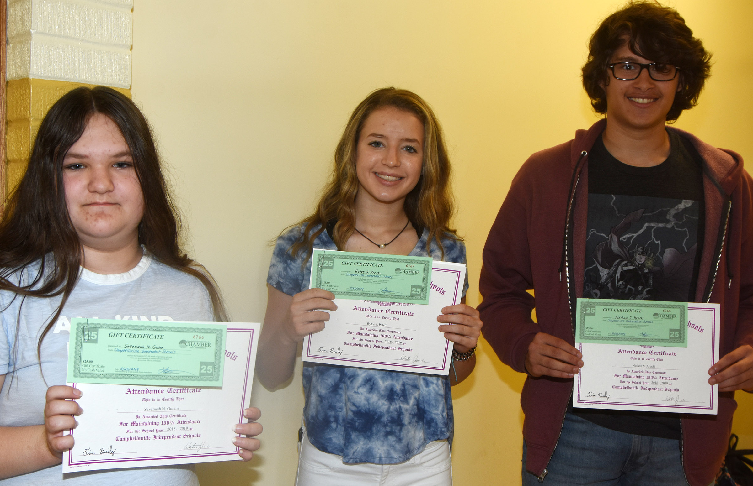Campbellsville High School students honored for having perfect attendance in the 2018-2019 school year are, from left, freshmen Savannah Gumm, Rylee Petett and Nate Arachi.