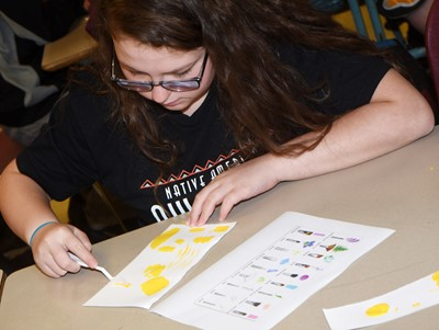 CMS eighth-grader Chloe Mitchell tries a new painting technique.