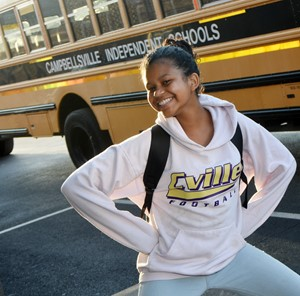 CMS seventh-grader Destiny Bradley is all smiles on the second day of school.