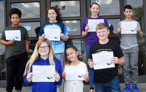 CMS Exceeding Eagles for the week of Aug. 26 are, from left, front, eighth-grader Piper Ritchie and iEagle students Nadia Taylor and Levi Young. Back, sixth-graders Zarek Stone and Madison Philpott and seventh-graders Piper Maggard and Casey Morris. Absent from the photo is eighth-grader Dalton Morris.