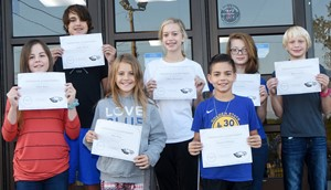 CMS Exceeding Eagles for the week of Sept. 30 are, from left, front, sixth-grader Chloe Bates, iEagle seventh-grader Ellie Wise and sixth-grader Easton Williams. Back, eighth-graders Kaden Bloyd and Chloe Thompson and seventh-graders Kyra Parker and Bronson Cox. Absent from the photo is iEagle fifth-grader Joseph Greer.