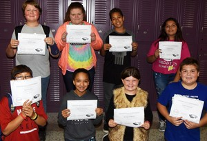 CMS Exceeding Eagles for the week of Sept. 23 are, from left, front, sixth-graders Zach Holley and Alyssa Knezevic, iEagle fifth-grader Kaleigh Wilhoite and iEagle seventh-grader Logan England. Back, eighth-grader Zach Akin, seventh-graders Carmen Gurley and Aiden Eastridge and eighth-grader Aaliyah Nunez.