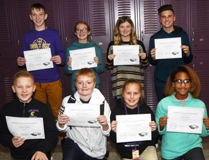 CMS Exceeding Eagles for the week of Nov. 11 are, from left, front, sixth-grader Isaiah Jeffries, iEagle sixth-grader Ryder Murphy, sixth-grader Madisyn Bradfield and iEagle fourth-grader Aliy Dunn. Back, seventh-graders Kaleb Miller and Lilyan Murphy and eighth-graders Ellington Gowin and Isaac Garrison.