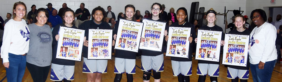 CMS girls' basketball players