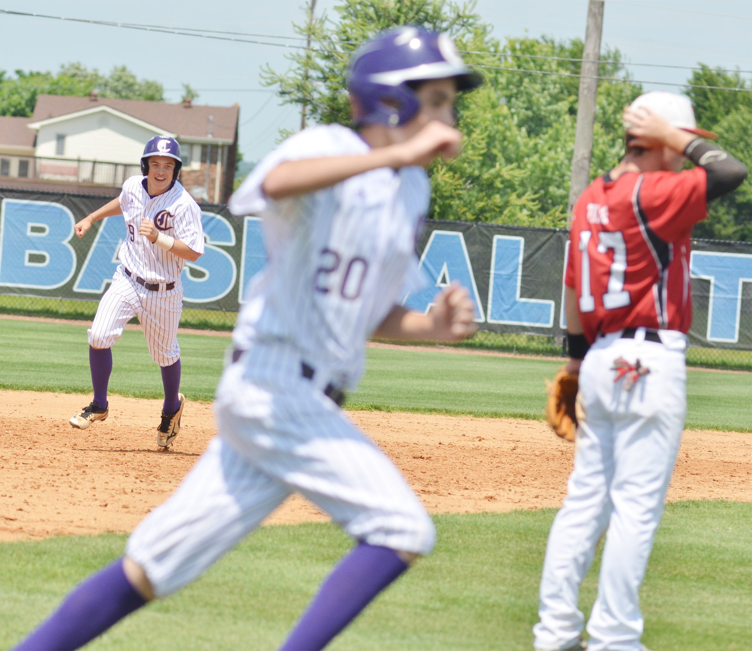 CHS sophomore Treyce Mattingly rounds the bases after hitting a three-run homerun.