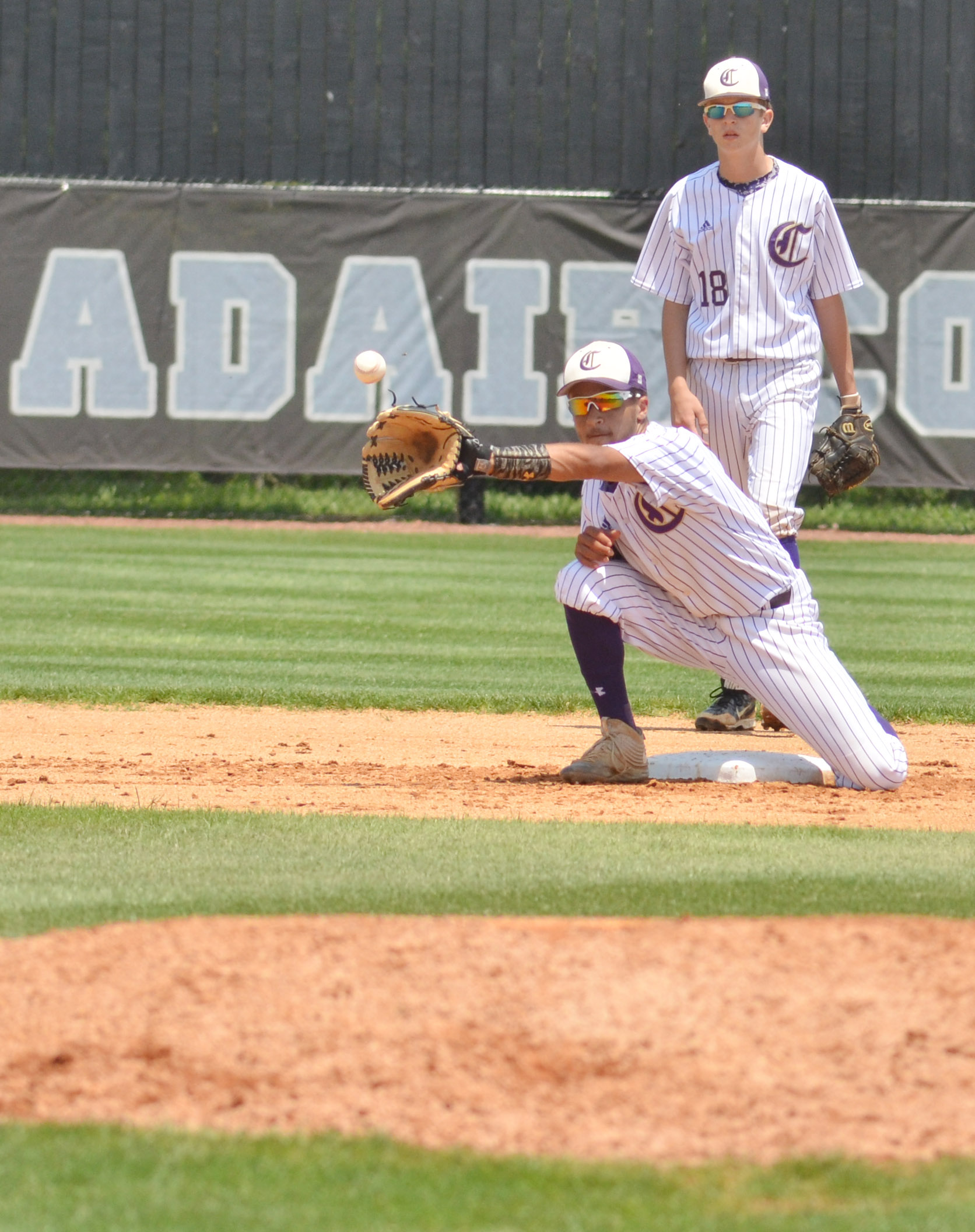 CHS junior Ethan Lay catches the ball at second.