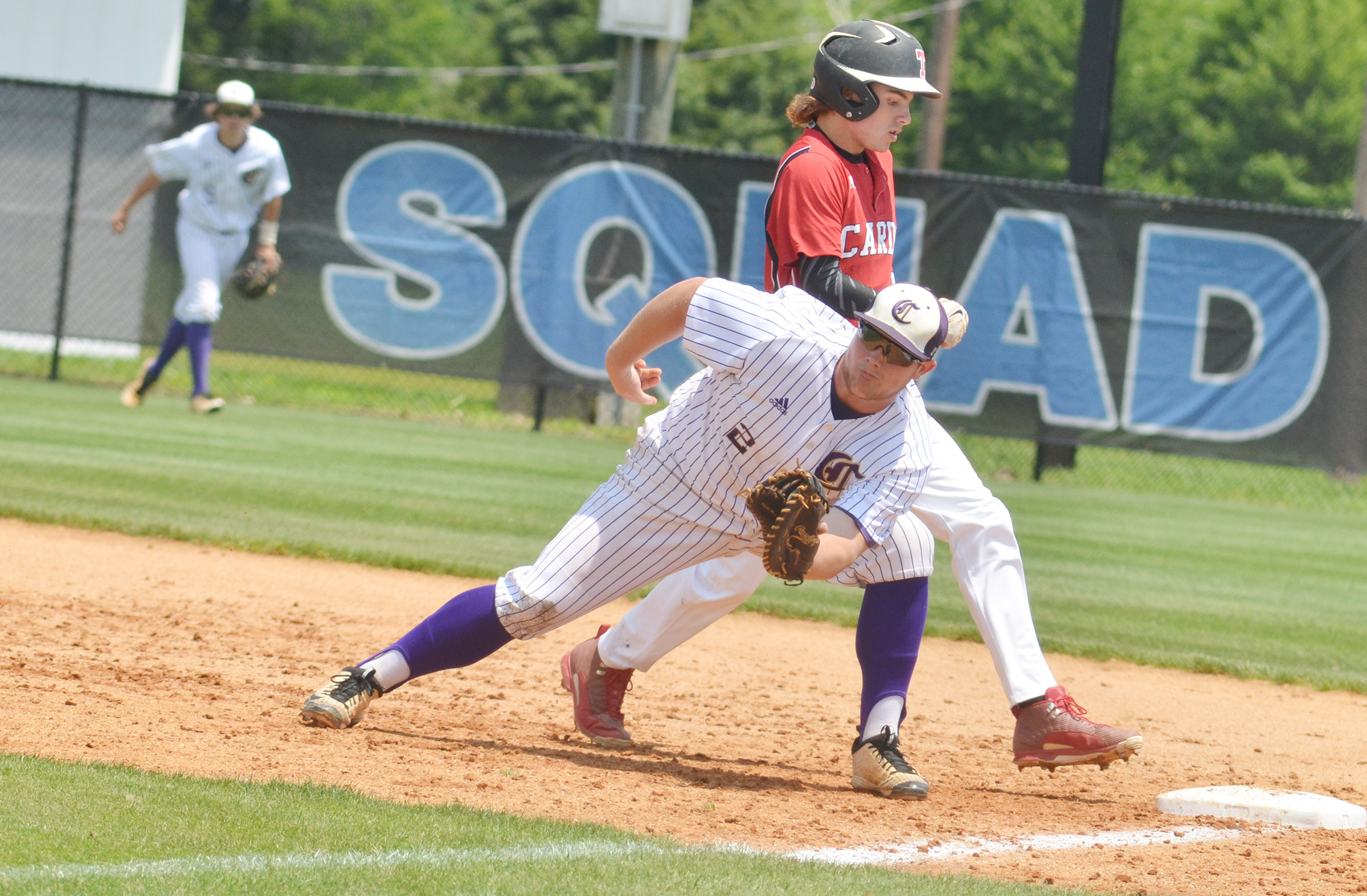 CHS sophomore Lane Bottoms tries to get the runner out at second.
