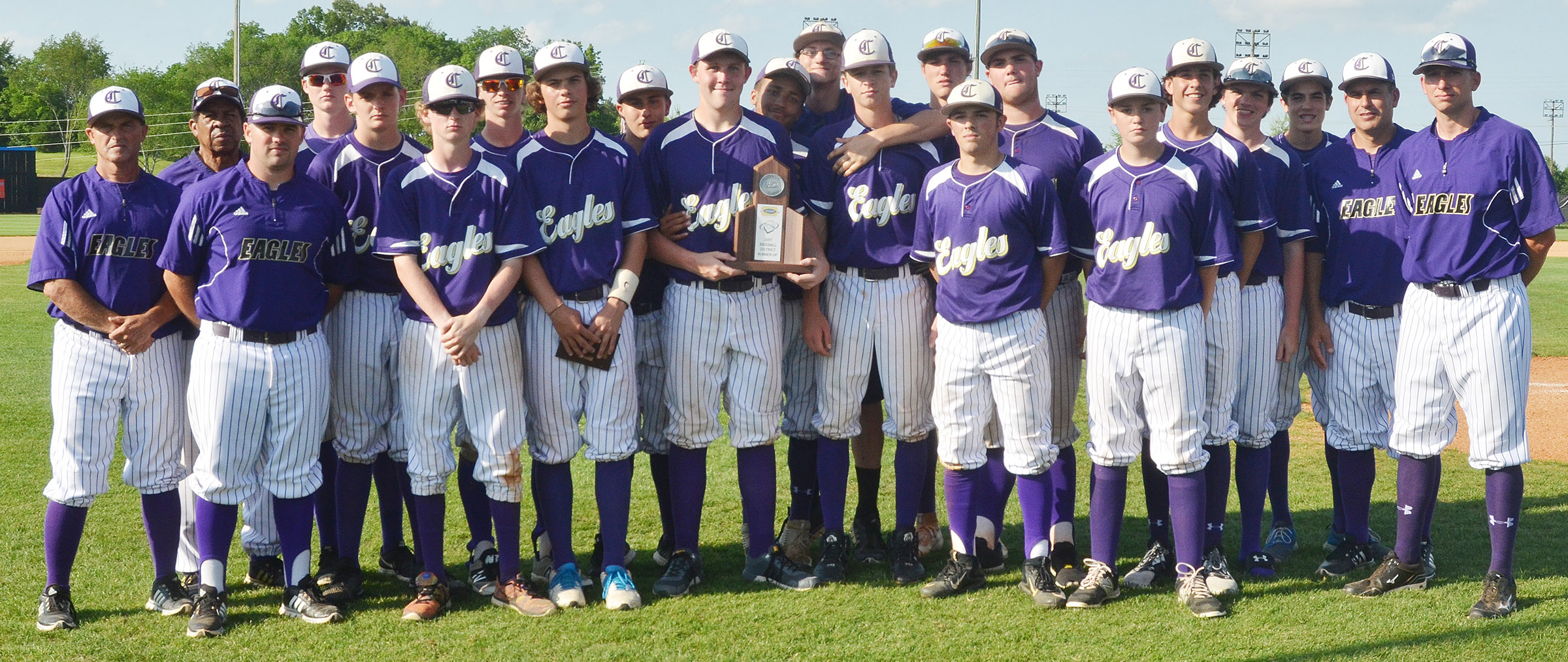 CHS baseball players receive their 20th District tournament runners-up trophy.