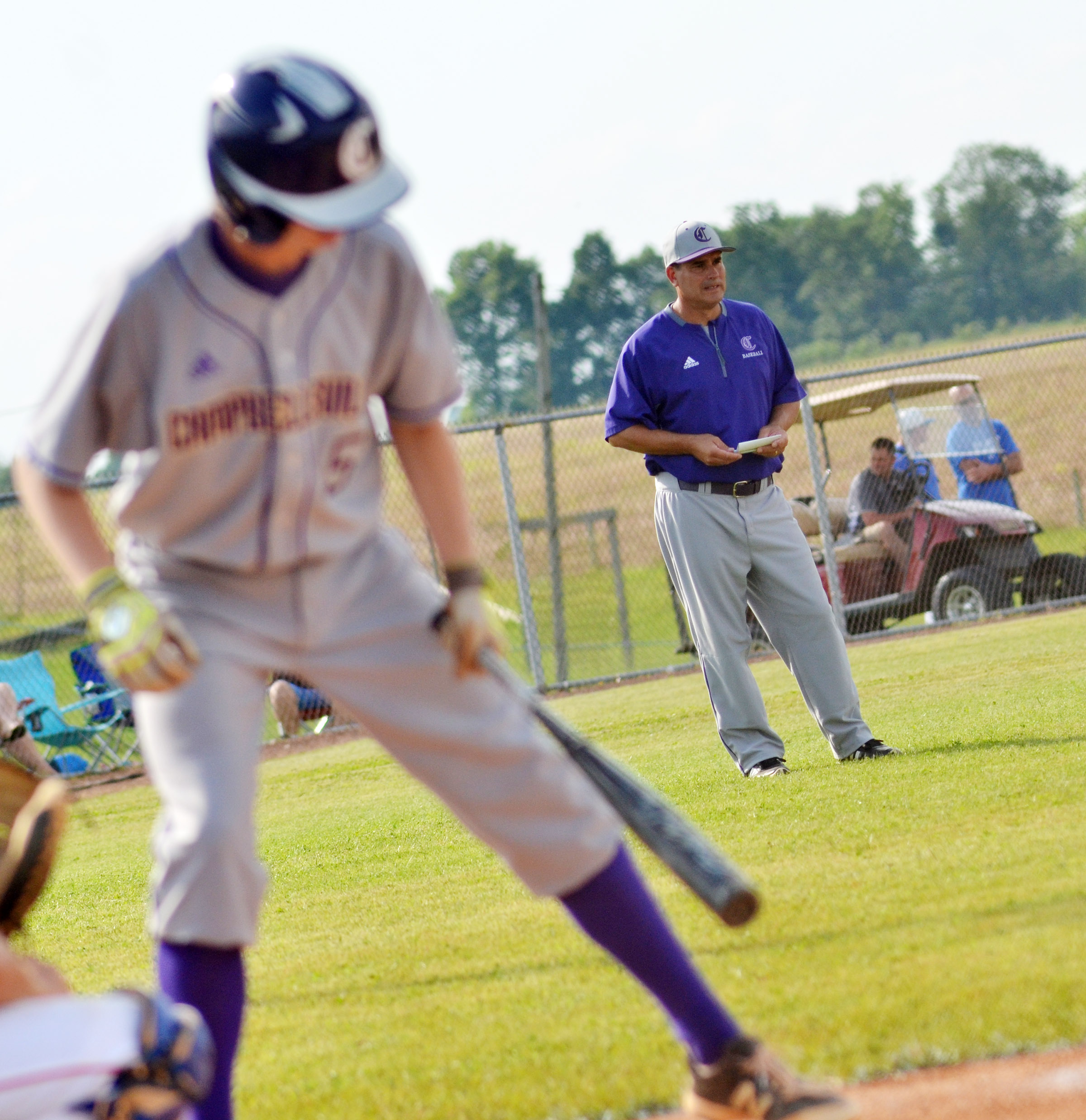CHS head baseball coach Kirby Smith watches as his players take the lead.