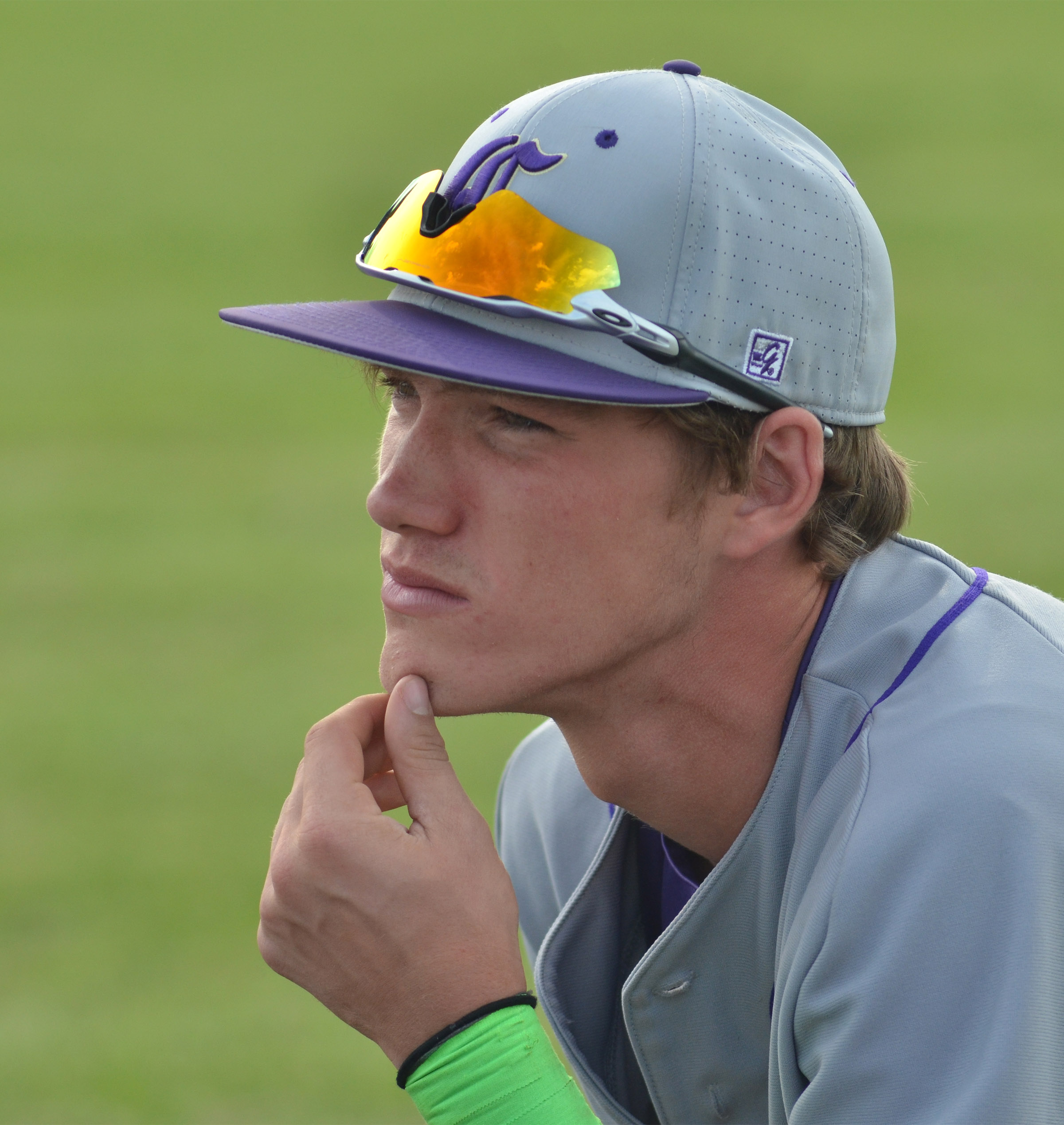 CHS senior Zack Bottoms listens as his coaches talk.