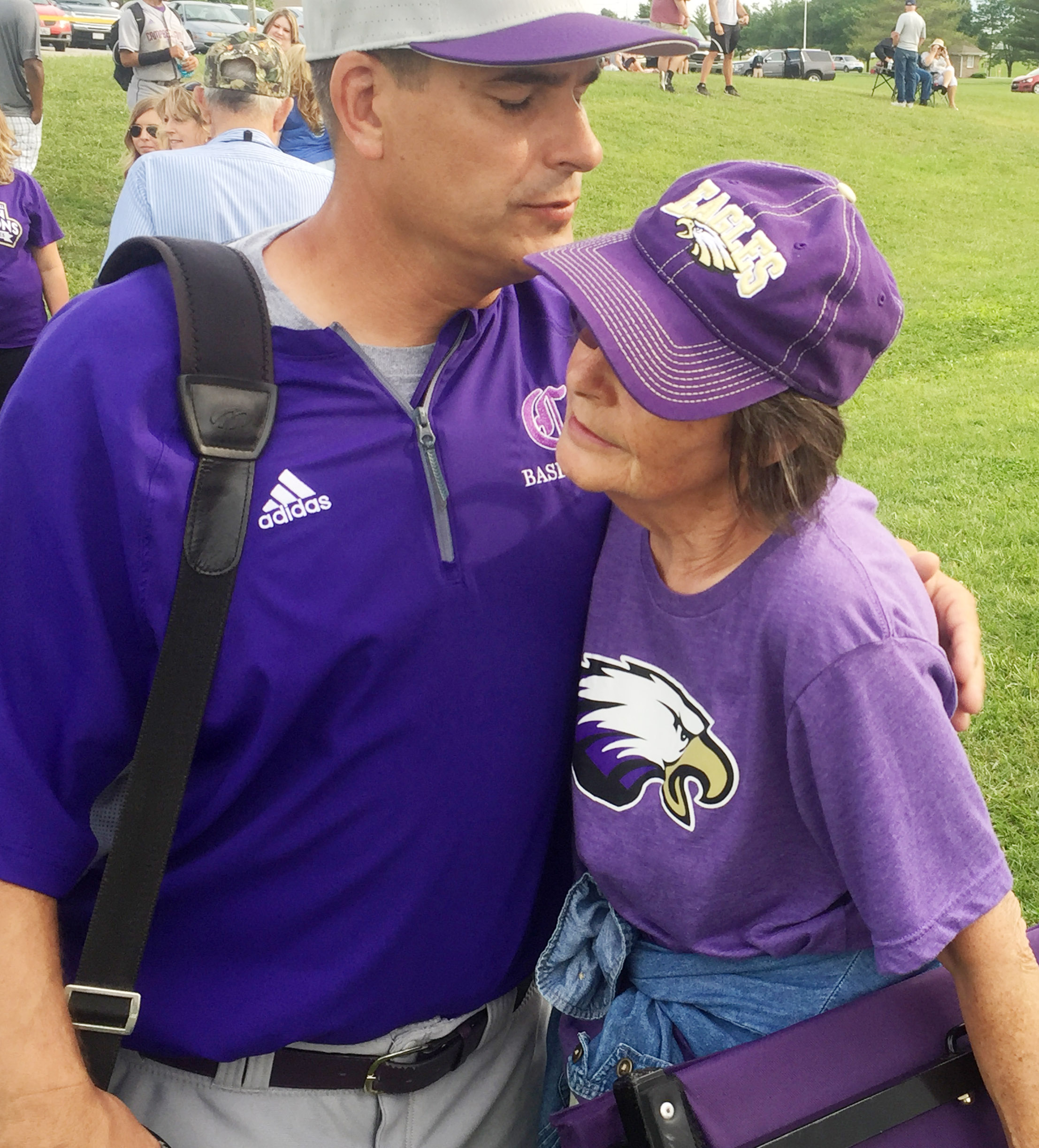 CHS head baseball coach Kirby Smith hugs his mother, Mae.