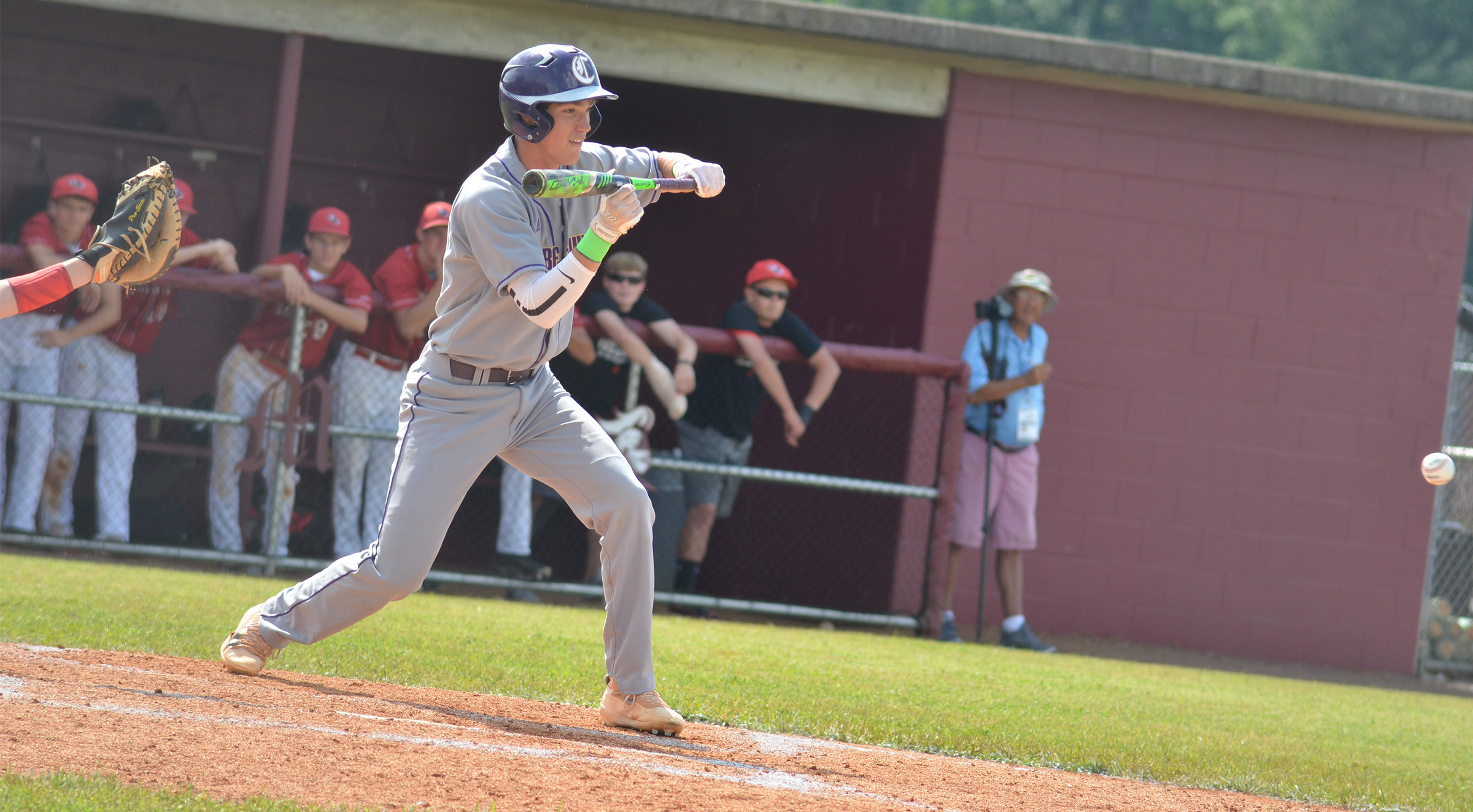 CHS senior Zack Bottoms bunts.