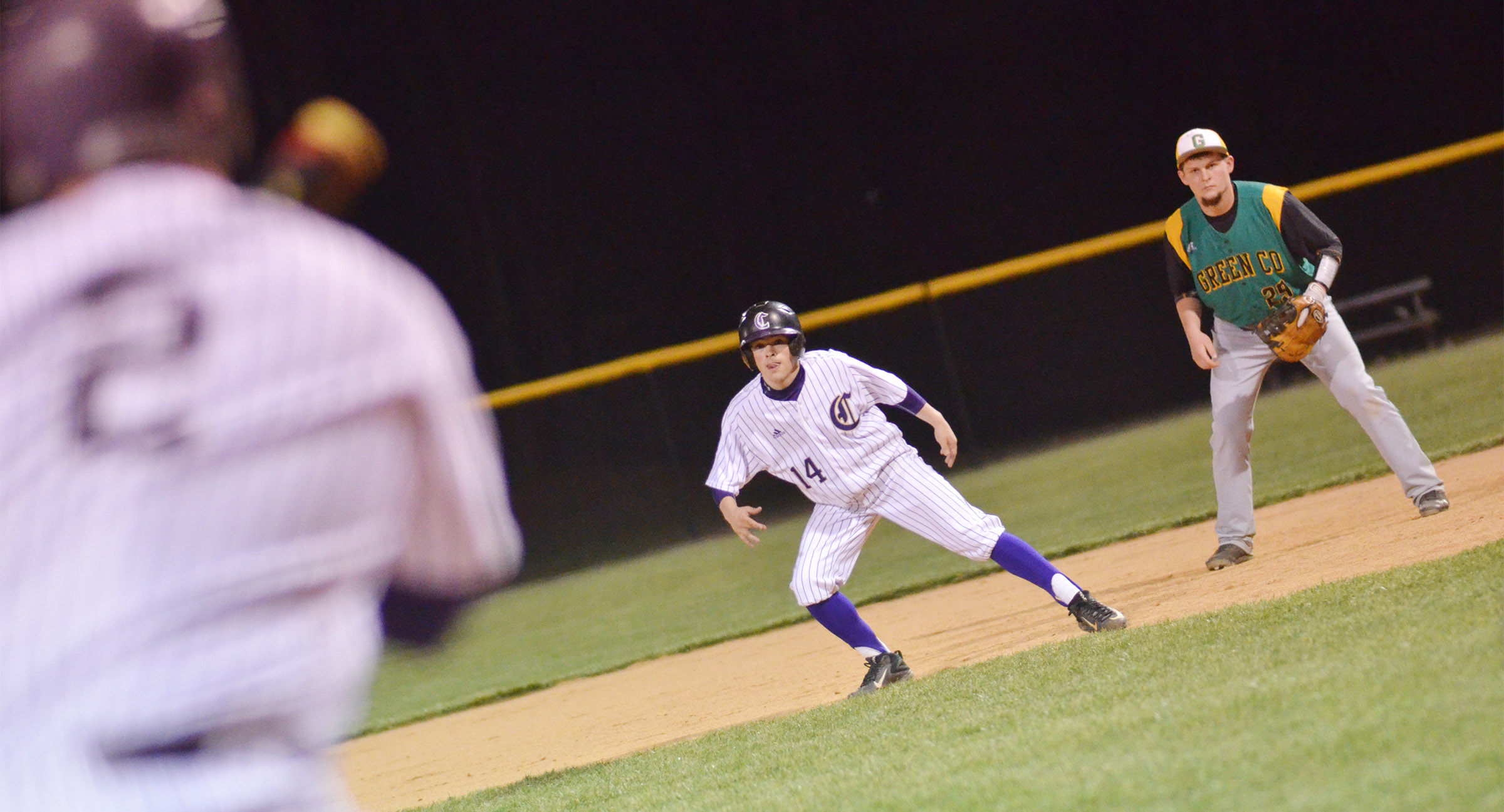 CHS sophomore Ryan Kearney looks to steal second.