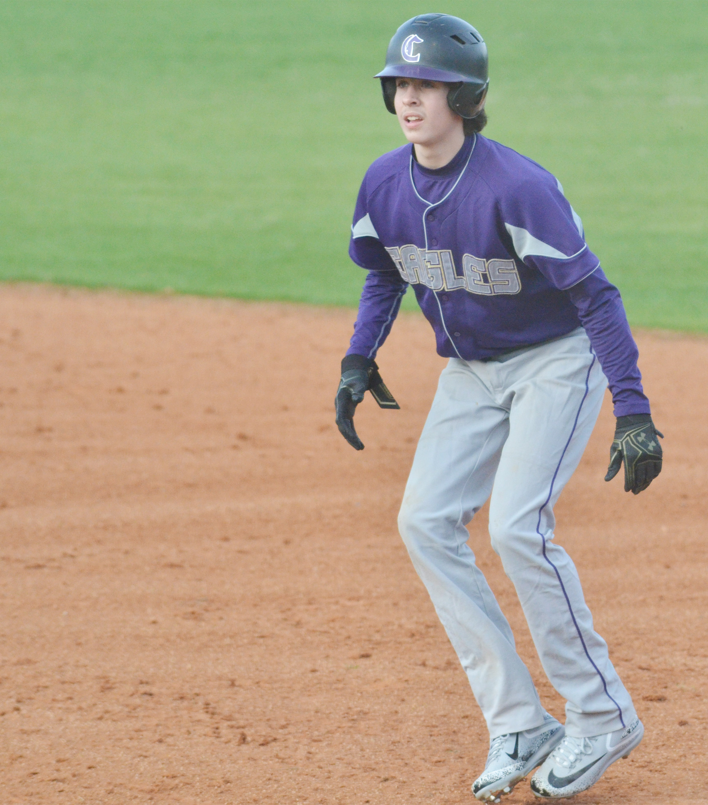 Campbellsville Middle School eighth-grader John Orberson gets a lead off first.