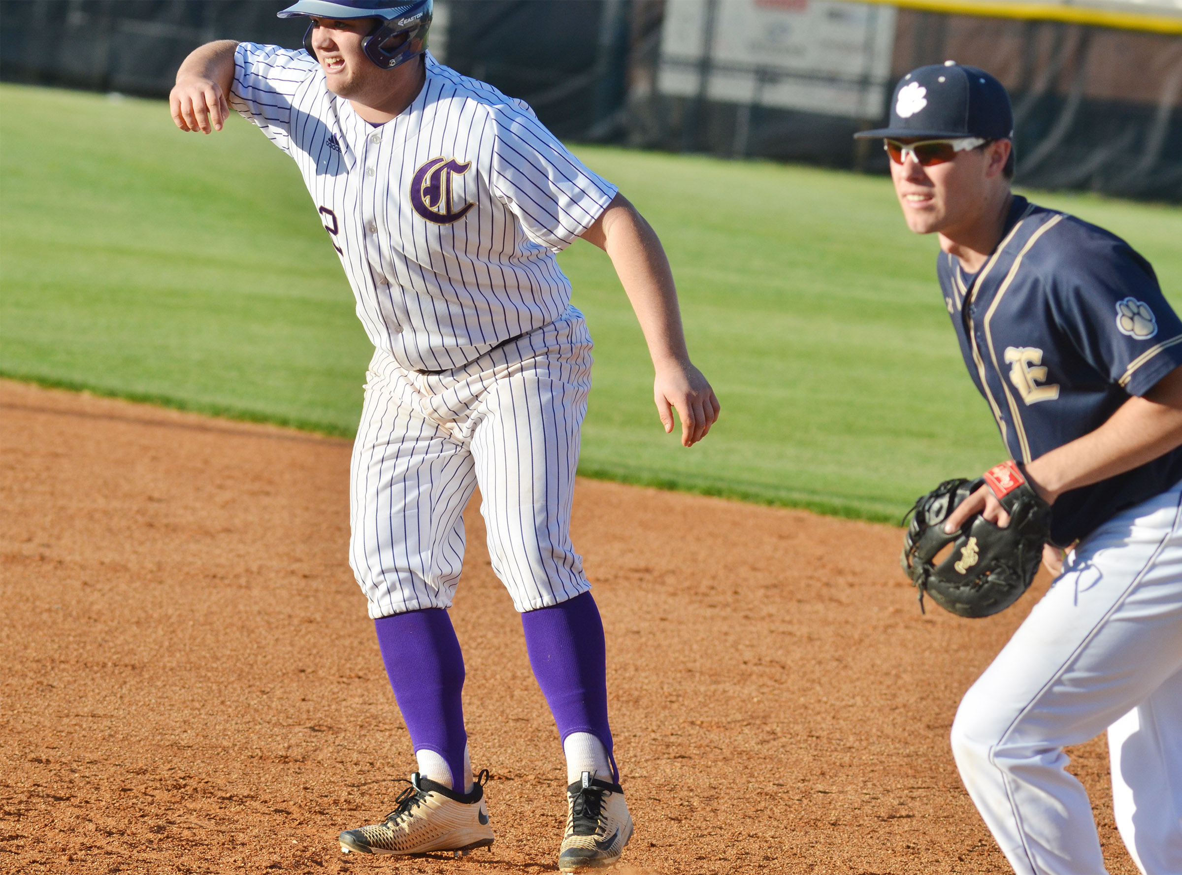 CHS sophomore Lane Bottoms looks to steal second.