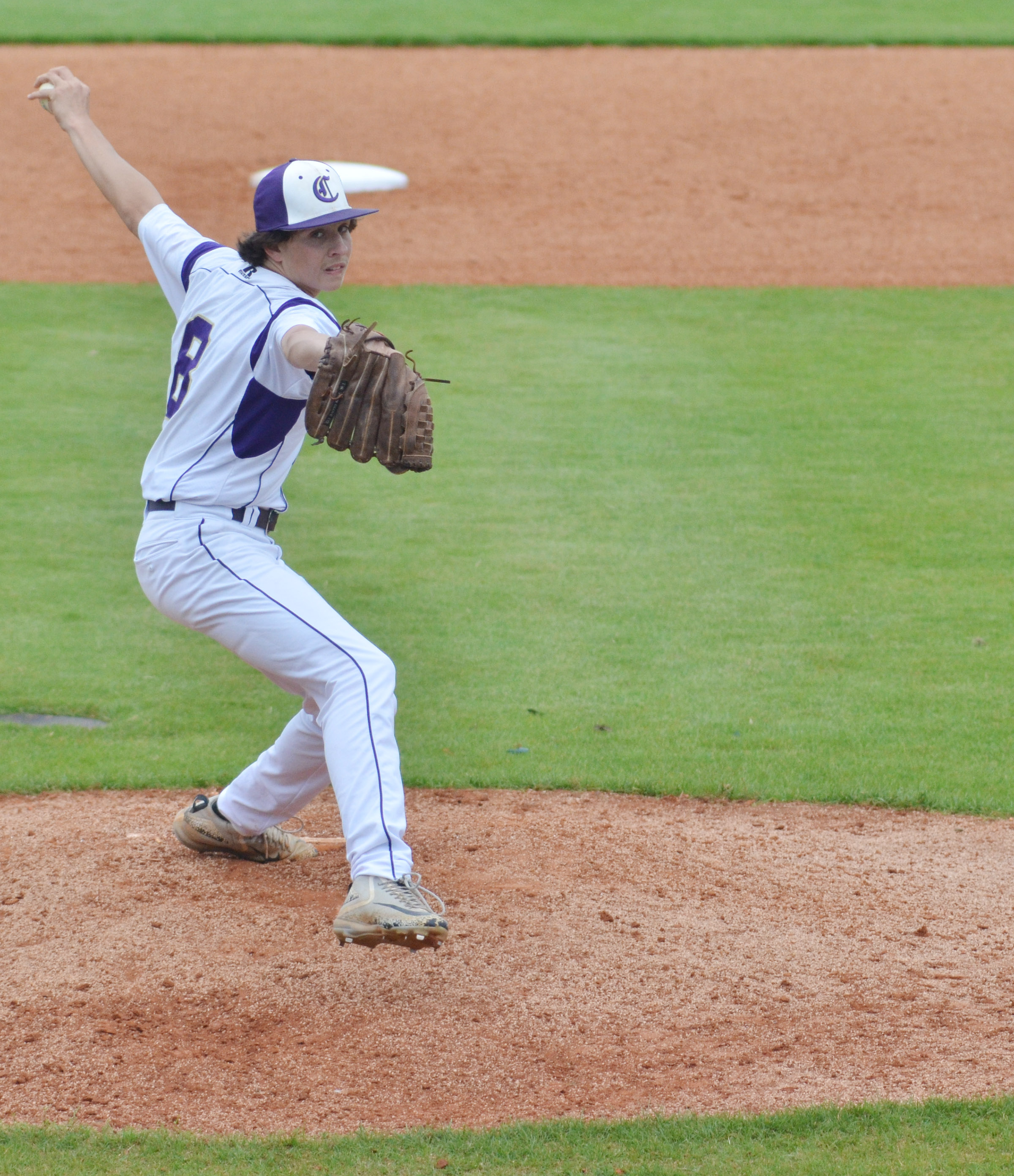 Campbellsville Middle School eighth-grader John Orberson pitches.