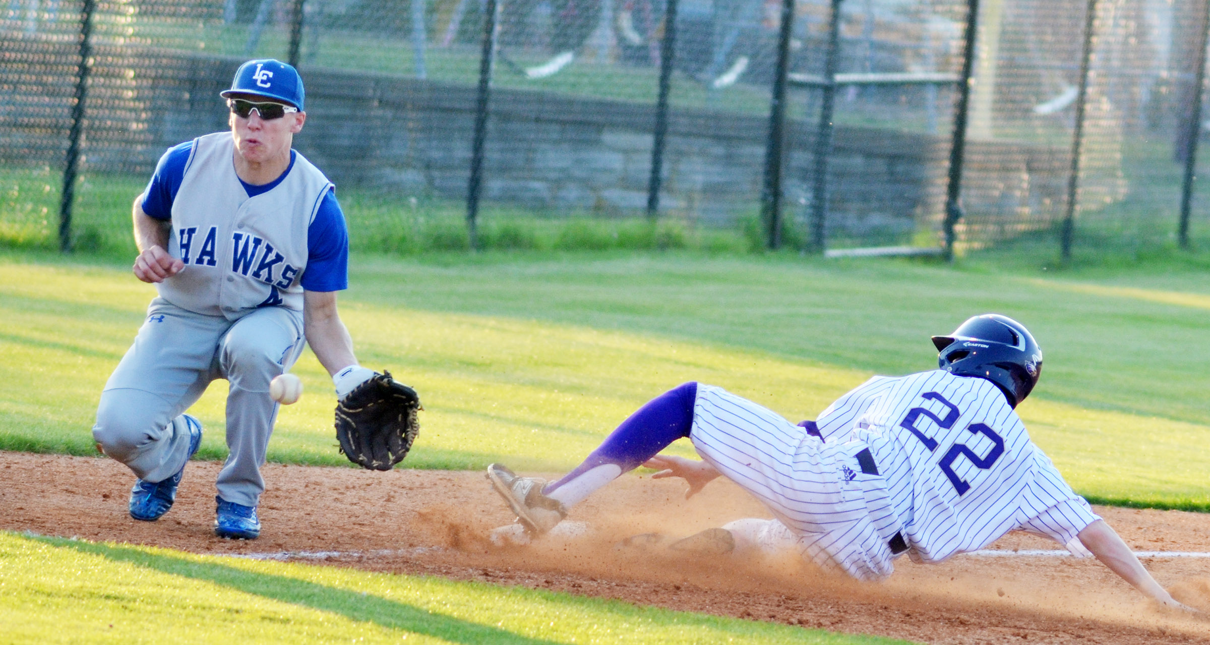 Campbellsville Middle School eighth-grader Tristin Faulkner is safe at third.