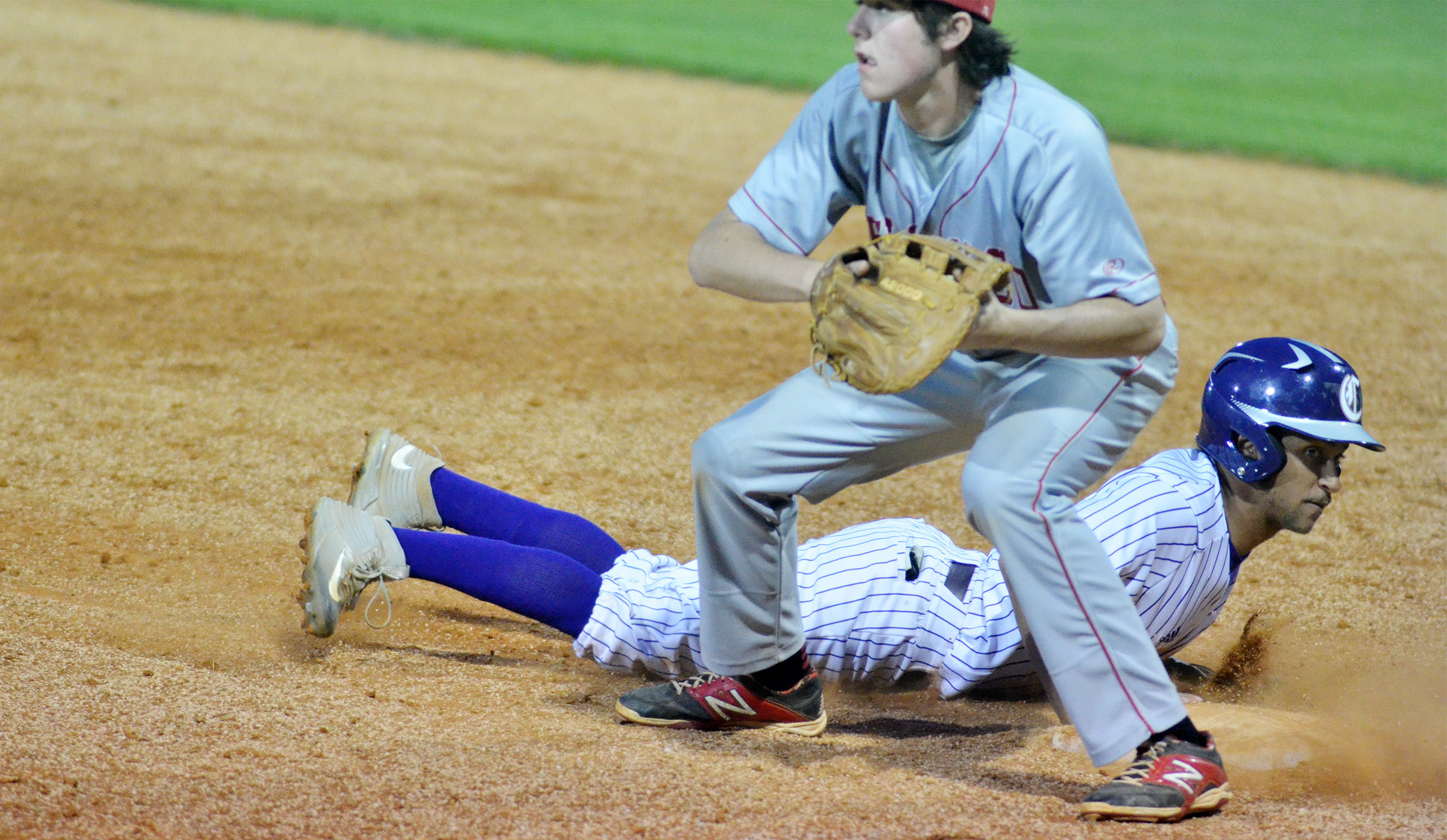 CHS junior Ethan Lay is safe at first.
