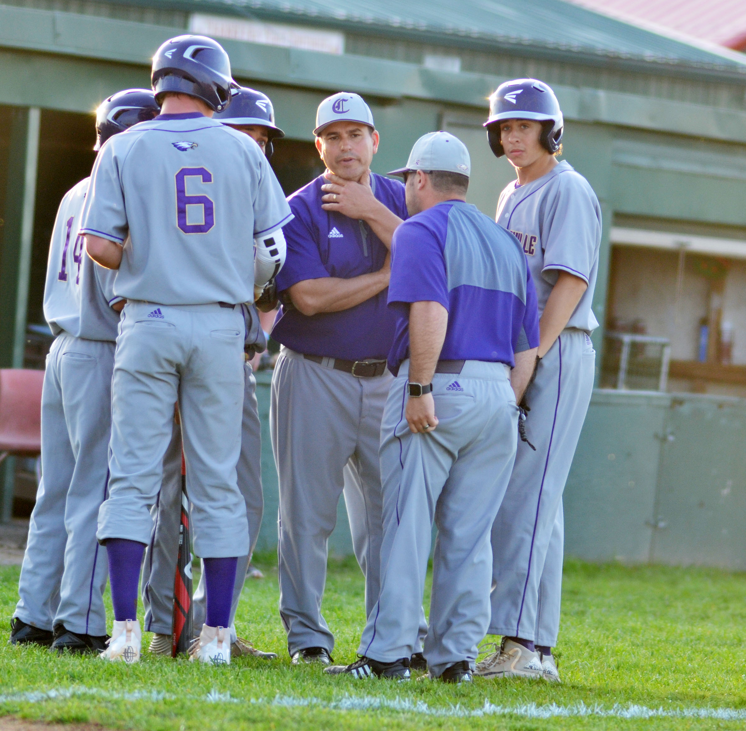 CHS head baseball coach Kirby Smith talks to his players.