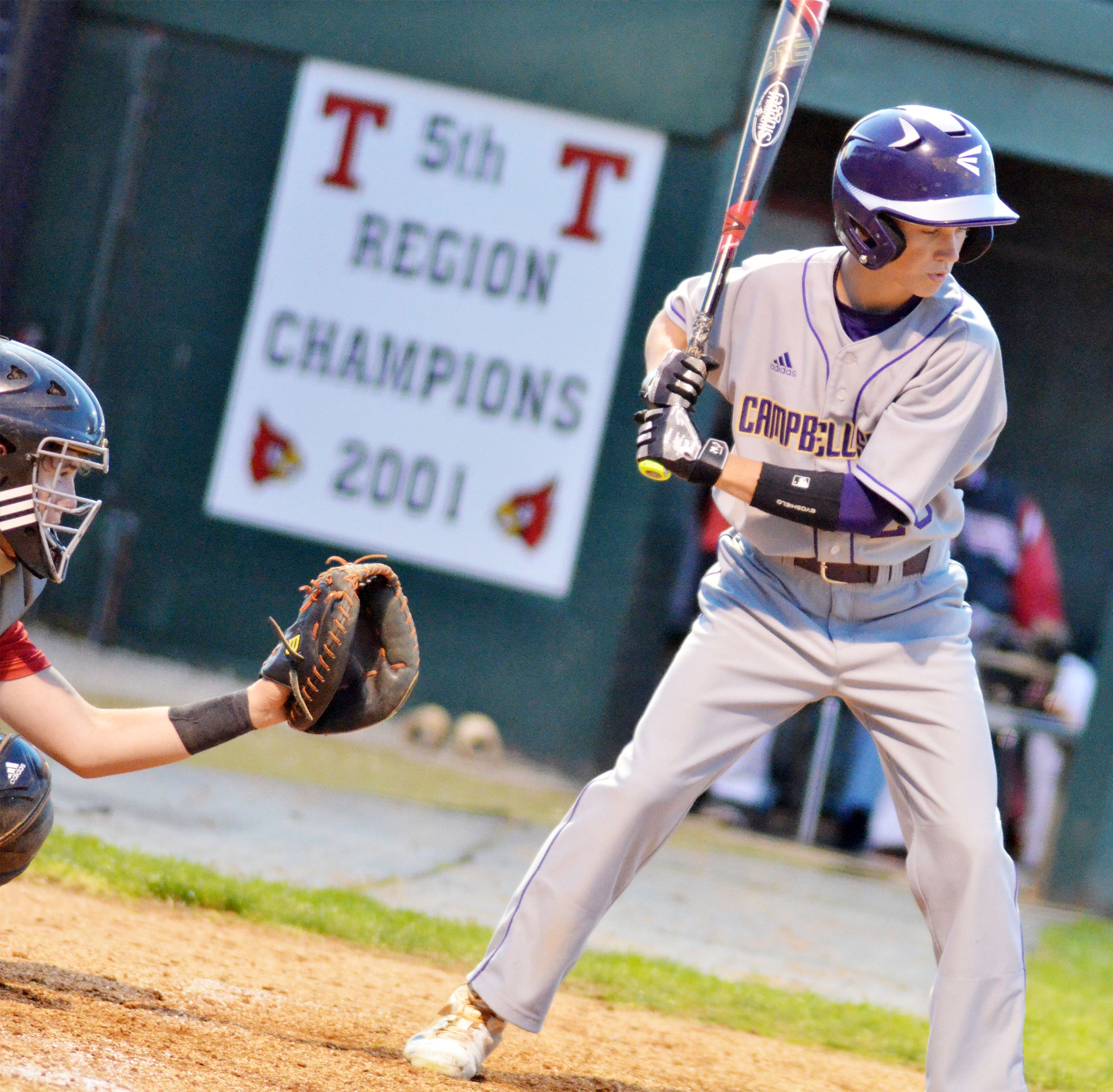 Campbellsville Middle School eighth-grader Blase Wheatley bats.