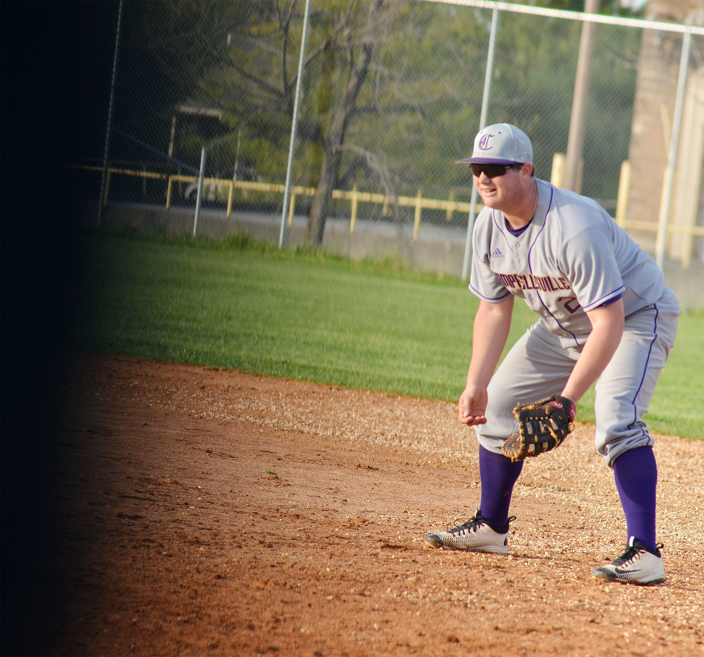 CHS sophomore Lane Bottoms mans first base.