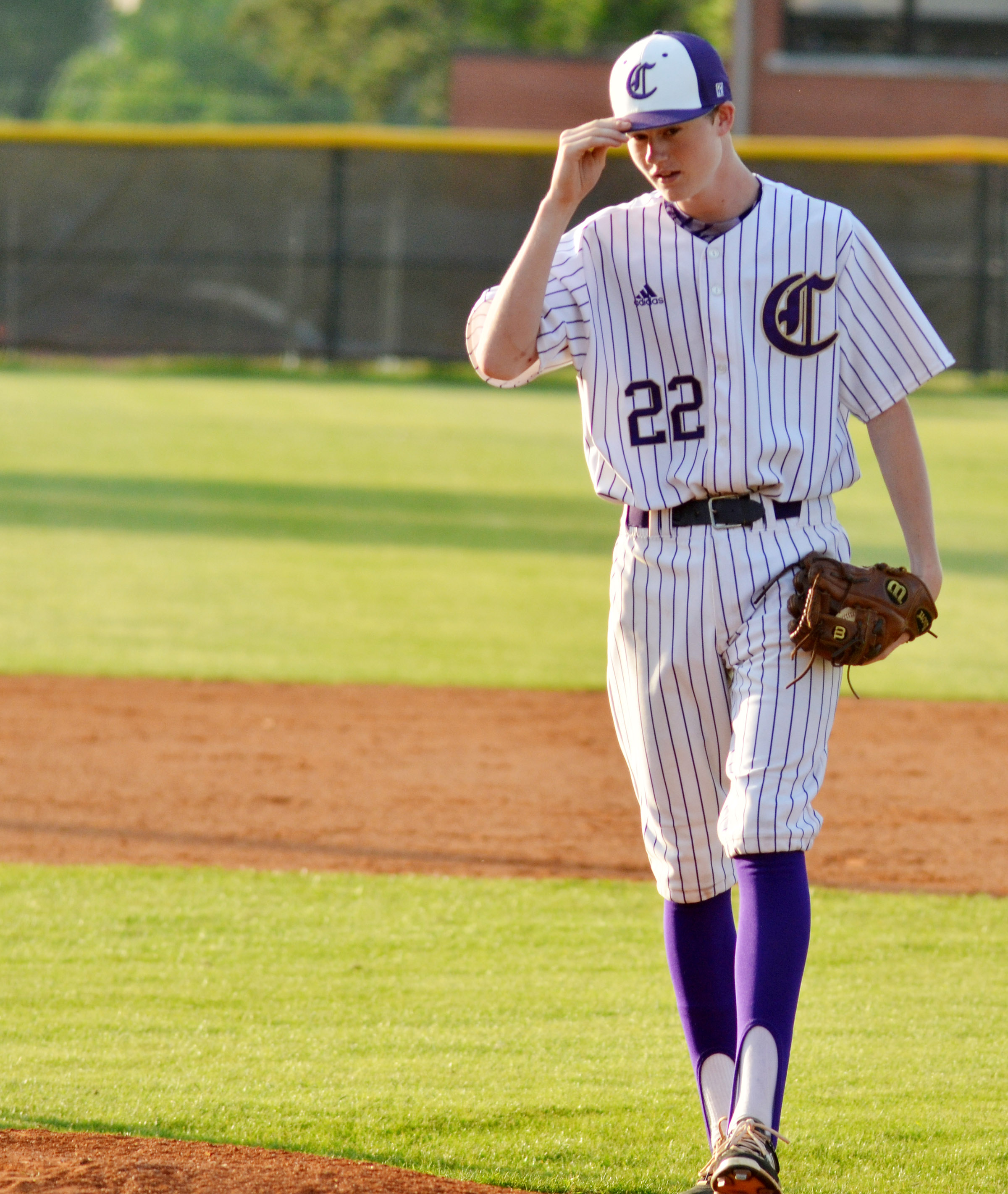 Campbellsville Middle School eighth-grader Tristin Faulkner gets ready to pitch.