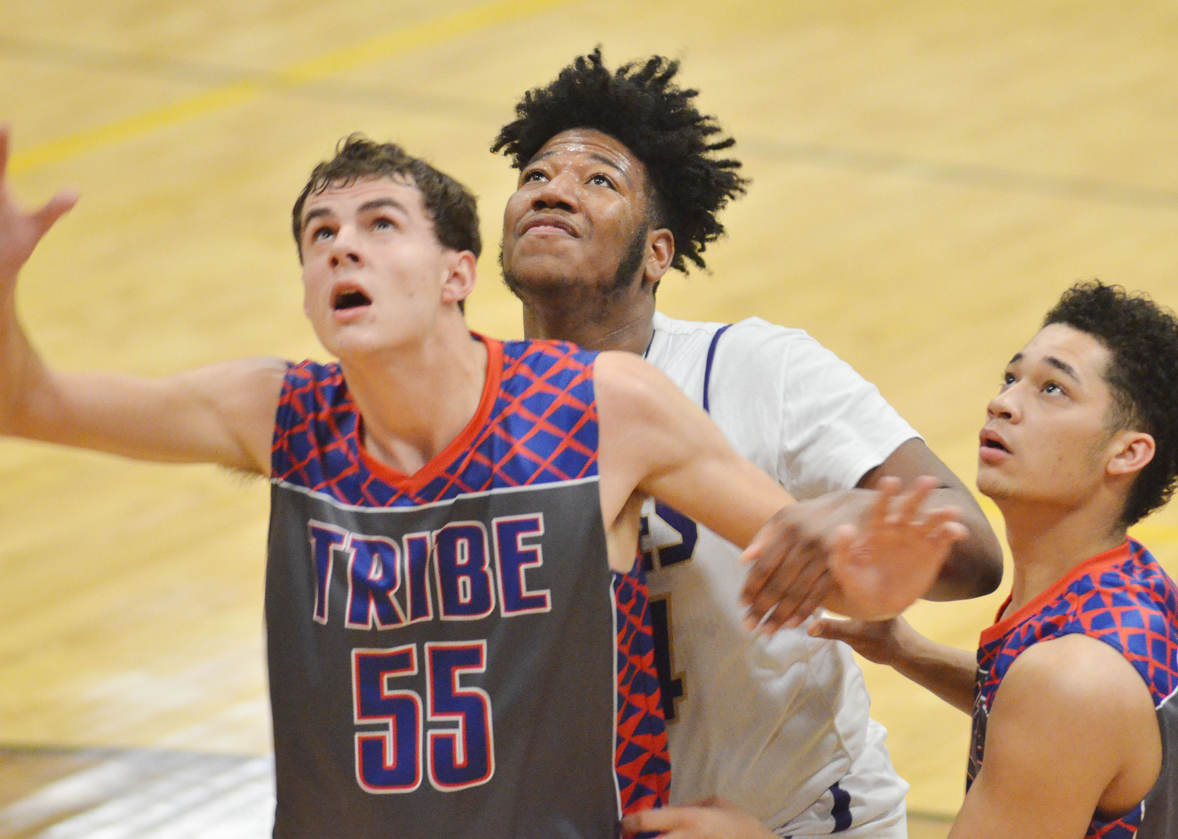 CHS senior Micah Corley battles for a rebound.