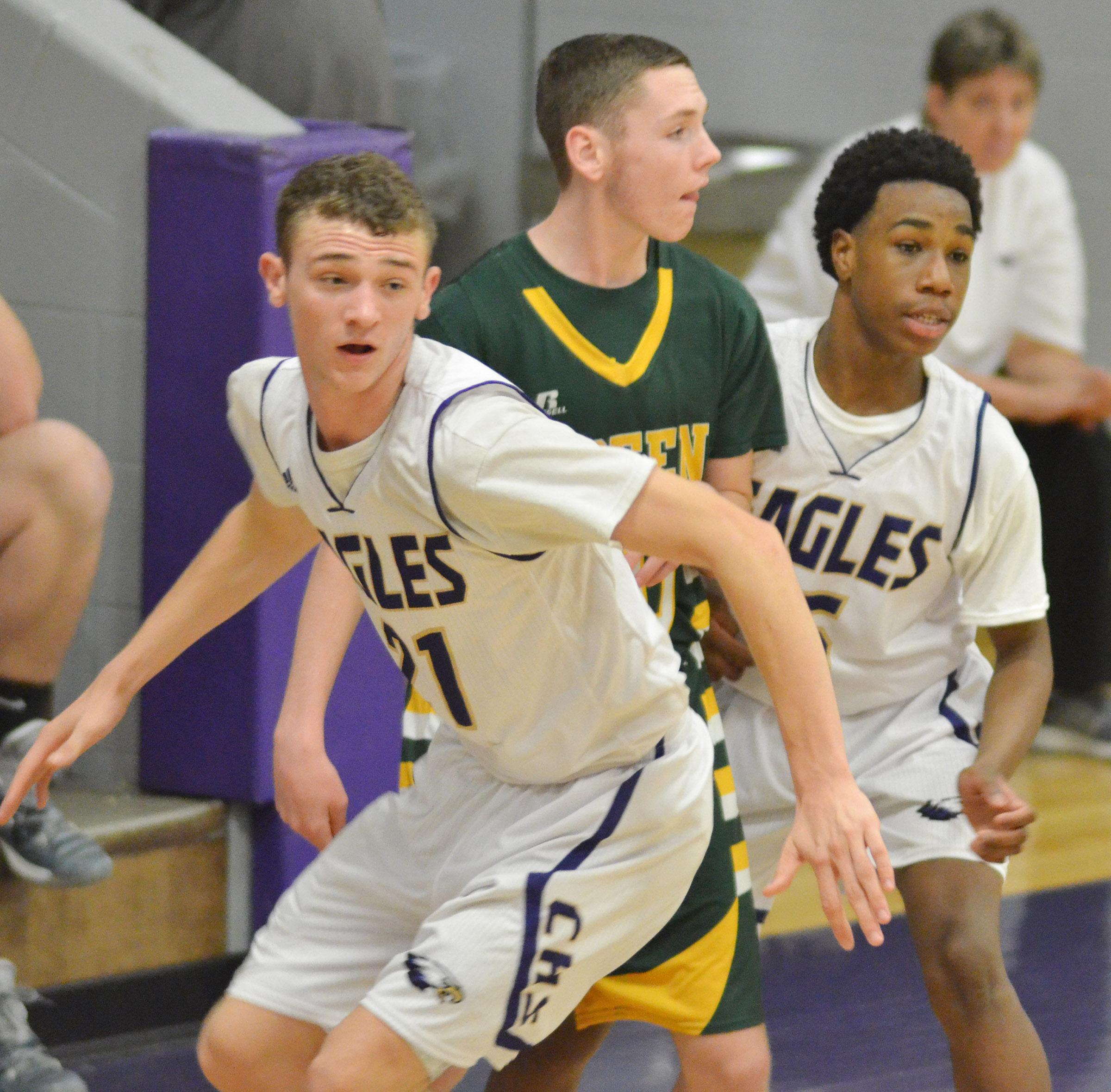 CHS junior Connor Wilson, at left, and freshman Malachi Corley play defense.