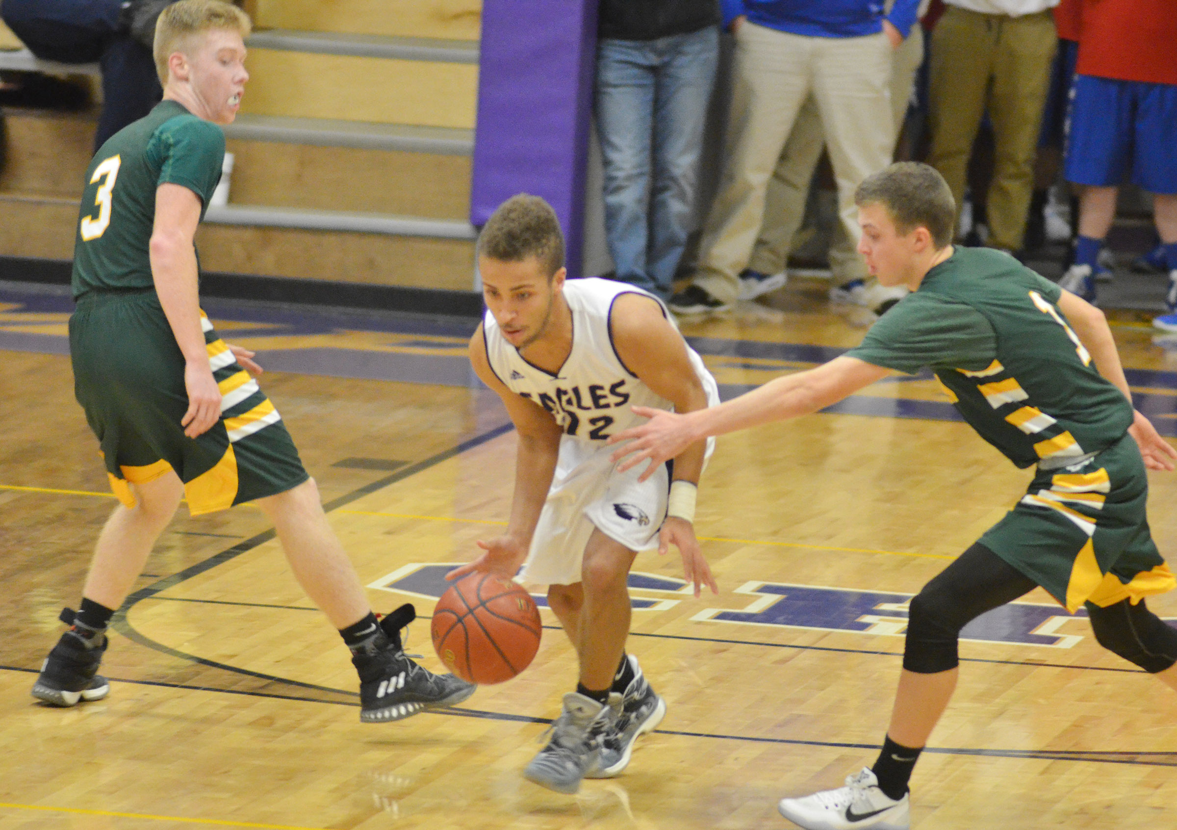 CHS junior Ethan Lay dribbles to the basket.