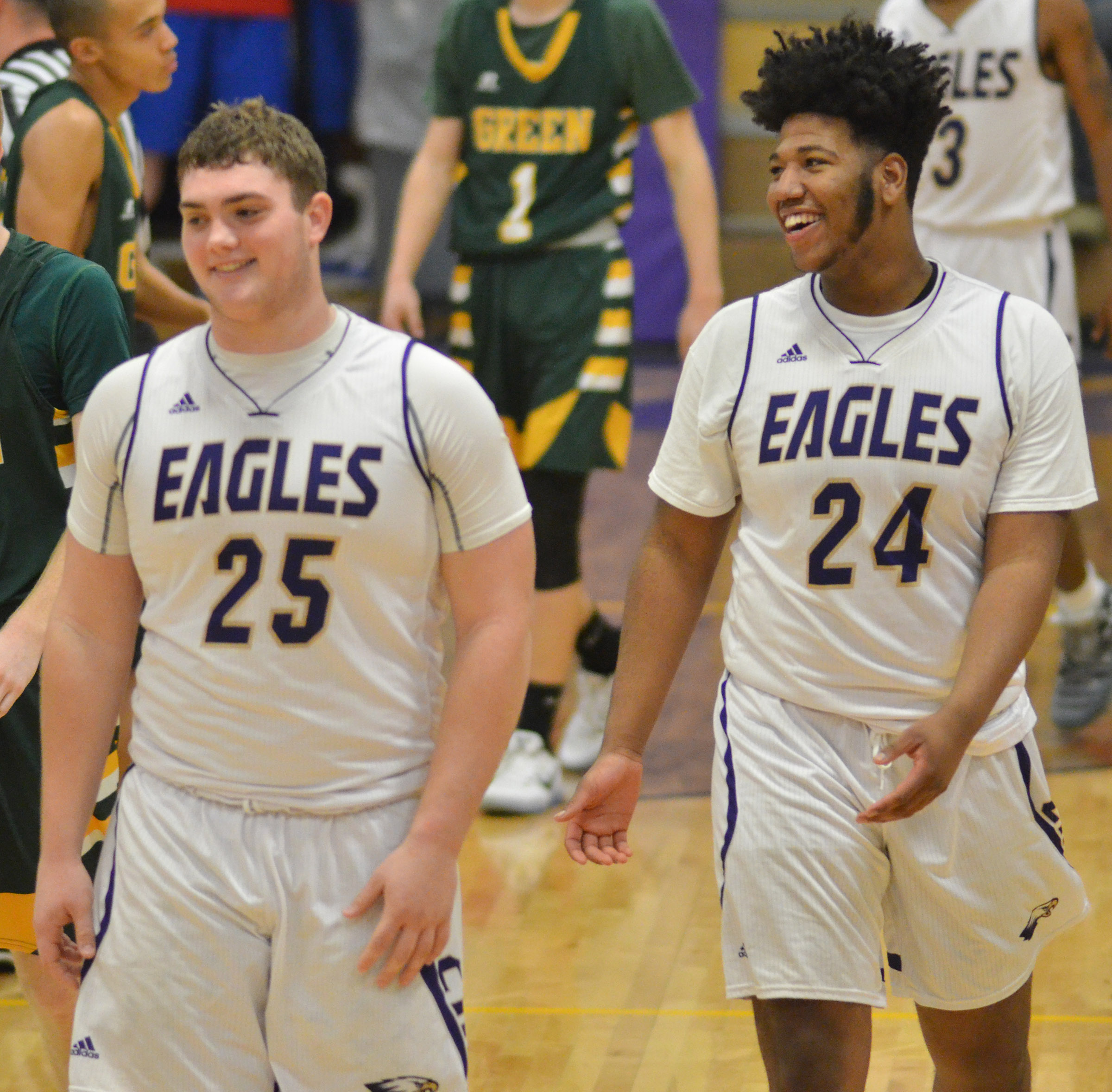 CHS sophomore Lane Bottoms, at left, and senior Micah Corley share a laugh during the game.