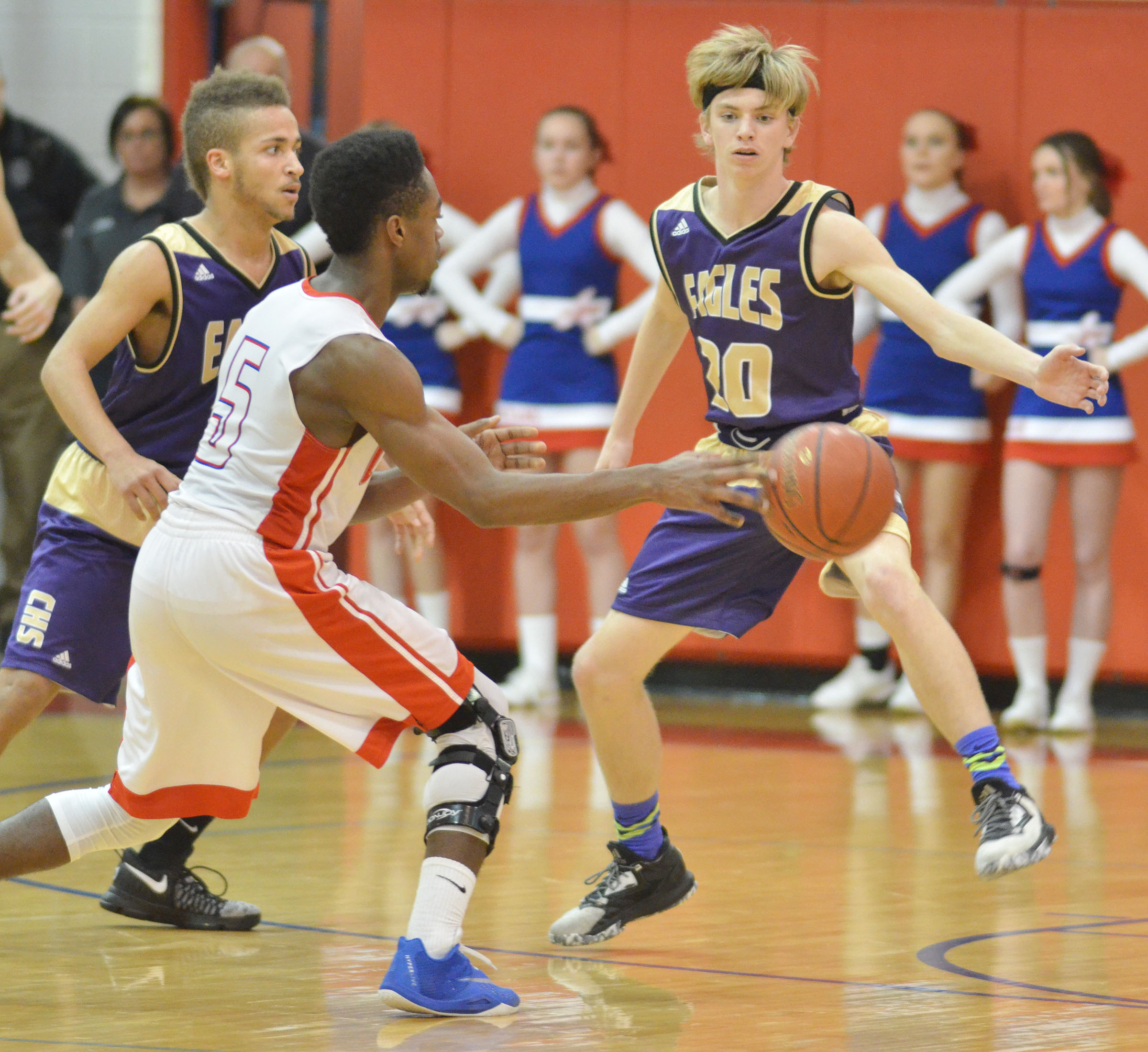 CHS junior Ethan Lay, at left, and Campbellsville Middle School eighth-grader Arren Hash play defense.