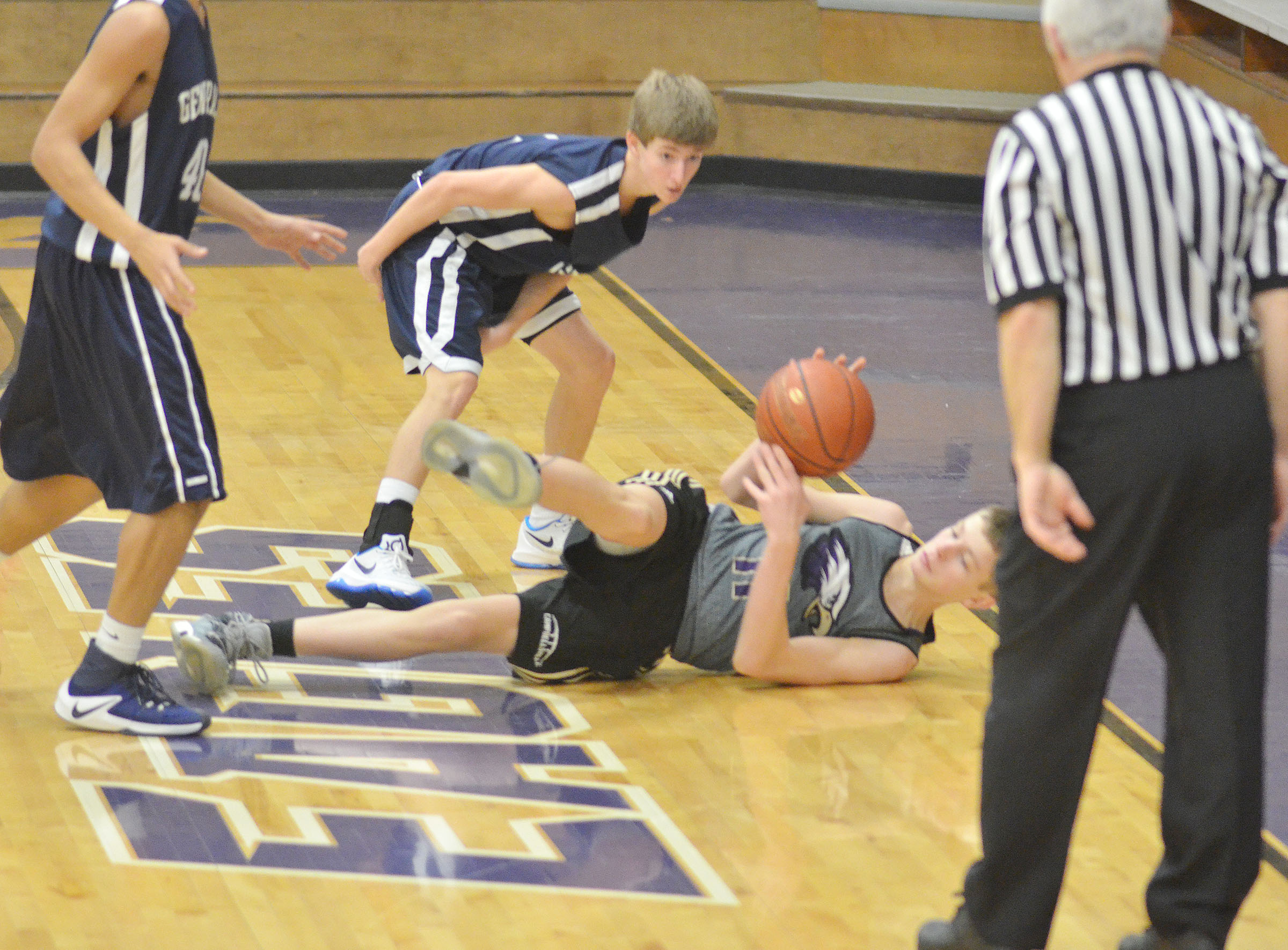 CHS freshman Noah Hughes battles for the ball.